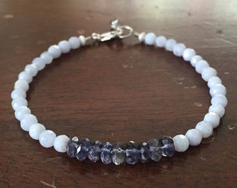 Facted Blue Lace Agate & Iolite Layering Bracelet