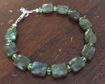 Faceted Labradorite Squares with Peridot Bracelet