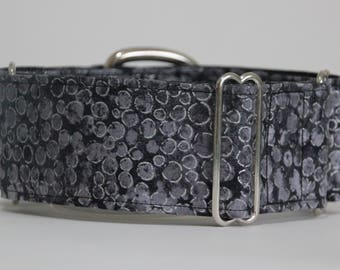 "Greyhound - Grey and Silver 2"" Martingale Collar"