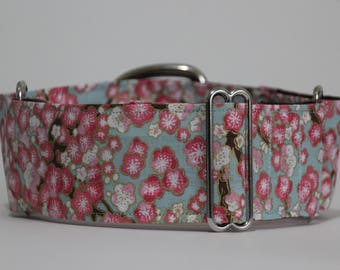 "Greyhound Pink Cherry Blossom 2"" Martingale Collar"