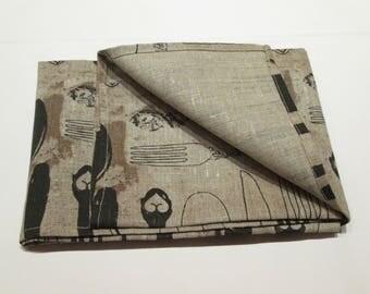 Tea towel linen print forks/knives