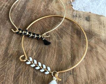 Spike and tassel Bangle Bracelet