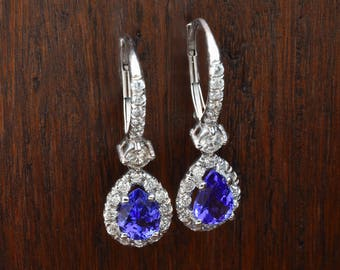 Purple Tears & Round Diamonds, Purple Amethyst and White Gold Earrings, Drop Earrings, Perfect Gift For Her, Perfect Christmas Gift