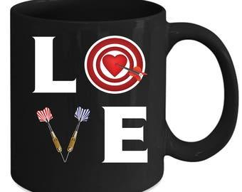 Darts LOVE Darts Gift, Christmas, Birthday Present for Darts enthusiast Black Mug