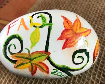 Hand-Painted Fall Rock