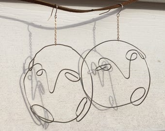 Handmade Wire Face Earrings with Chain Drop