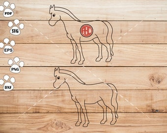 Horse SVG Files, Horse Monogram Frame svg, Horse Clipart, cricut, cameo, silhouette cut files commercial &  personal use
