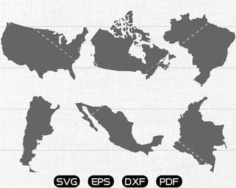 USA Map Clipart, Canada, Brazil, Argentina, Mexico, Colombia Map svg, Feeling svg, cricut, silhouette cut files commercial use