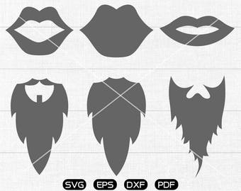 Lip SVG, Mustache Clipart, cricut, silhouette cut files commercial use