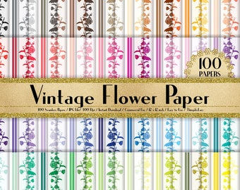 100 Seamless Vintage Flower Papers in 12 inch, 300 Dpi Planner Paper, Commercial Use, Scrapbook Paper,Rainbow Paper, 100 Vintage Papers