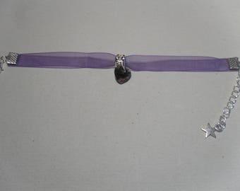 "Bracelet ""chic"" Purple Heart Charm"