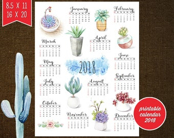 Cactus Calendar, Succulent Calendar,  Calendar 2018 Printable, Printable Calendar 2018, Calendar 2018 Wall -Printable, Floral Calendar