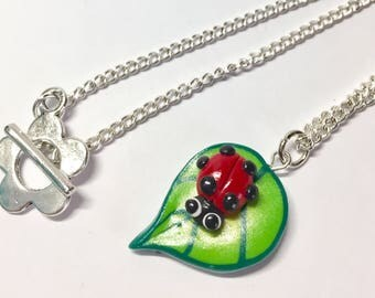 Ladybug on leaf necklace
