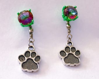 Rainbow mystic topaz green stud earrings with silver tone paw print dangle charm