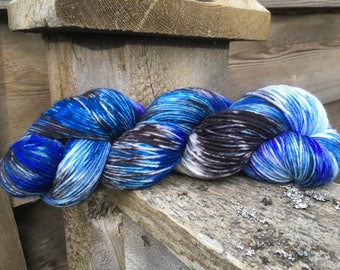 Planetary Mystery, a hand painted sock yarn. One of a kind Dot Dye