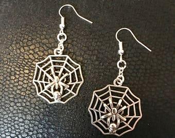 Spiderweb, spider, skull drop earrings