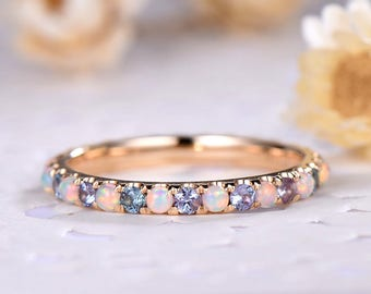 Opal Wedding Band Color Change Alexandrite Engagement Ring 14k 18k 925 Sterling Silver Yellow Gold Full Eternity Bridal Stacking Ring Women