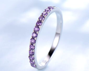 Amethyst wedding band white gold 14k/18k pave eternity wedding ring or 925 sterling silver natural birthstone matching band stacking ring