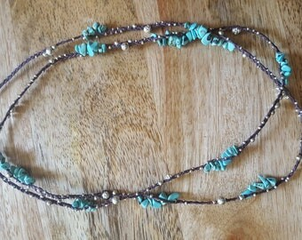 Hand braided waxed linen with turquoise gemstones and solid Sterling silver beads