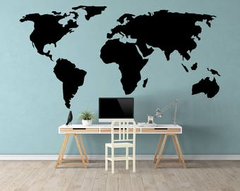 World Map Decal - Small & Large World Map Wall Decals - Map Decal - World Decal