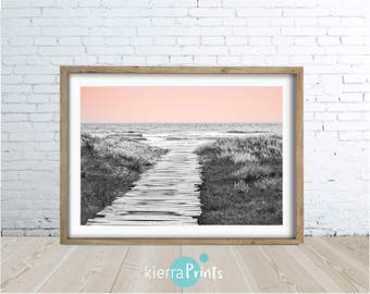 Beach Path, Digital Download, Wall Art, Large Poster, Coastal Living, Beach Interior, Black White & Pink, Photo, Modern, Luxe, Pink, Bedroom