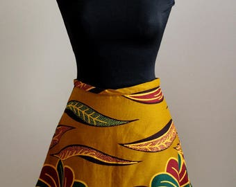African wax print mini skirt