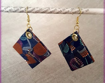 """Recycled paper laminated theme """"Flowers"""" earrings"""