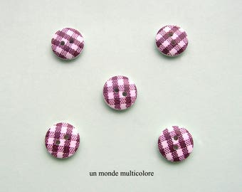 10 buttons round wood 15 mm Brown and white gingham, 2 holes. sewing, scrapbooking