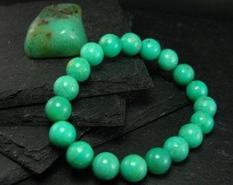 Chrysoprase Genuine Bracelet ~ 7 Inches  ~ 10mm Round Beads