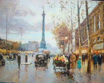 "Recreation of ""The Place de la Bastille"" by Eduard Cortes."