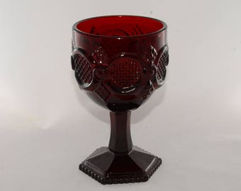 AVON, Cape Cod, Ruby Red, LARGE Water Goblet, Footed Pedestal Wine Glass, Glassware, Vintage, Retro glass, Collectible glasses, Red Glass
