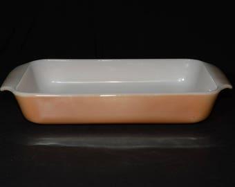 Vintage, FIRE KING, Peach luster, Casserole Dish, Glass, 1.5-quart Casserole, Baking Dish, 1950s, Anchor Hocking, Peach lustre, rectangular