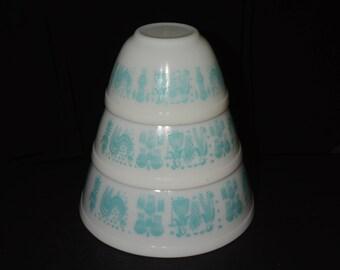 PYREX, Amish Butterprint, Set of 3 Amish ButterprintTurquoise bowls 401, 402 and 403, Vintage Pyrex Mixing Bowl Set, 1950s Kitchen, Vintage