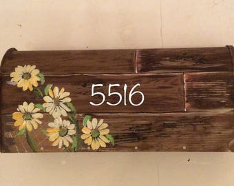 Hand painted Rustic wood Wedding mailbox red blue tan turquoise wedding personalized name, address, number wedding date