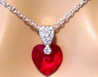 Swarovski Heart Necklace, Swarovski Necklace, Red Heart Necklace, Crystal Red Heart Pendant, Romantic Jewelry Gift Wife Valentines Day Gift