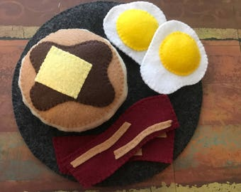 Felt Pancake Breakfast Set With Eggs and Bacon