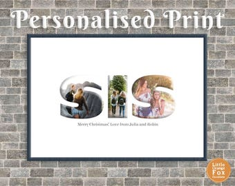 SIS or SISTER Personalised Photo Picture Print | Birthday Gift For Her