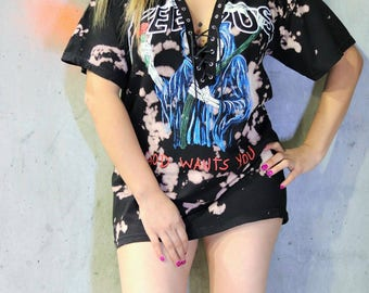 YEEZUS GRIM REAPER Lace Up Bleached  T-Shirt Dress, Tshirt, Lace up Tee, Acid Wash