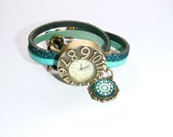 Wristwatch leather blue turquoise cabochon