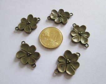 lot de 5 connecteur fleur métal couleur bronze 24 x 16mm