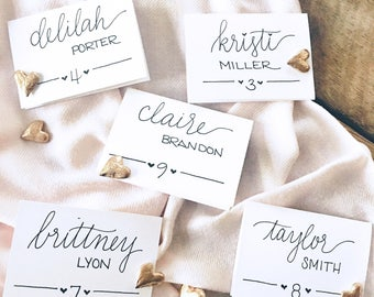 Hand Lettered Place Card, Custom Calligraphy, Wedding Place Cards, Calligraphy place cards