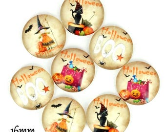 Set of 8 cabochons 16mm glass, Halloween, ZC83