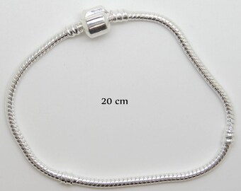 Bracelet charms silver metal clip clasp snake size 20 cm
