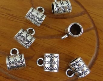 20 bails tube bail charms in silver 10 mm x 8 mm bd031
