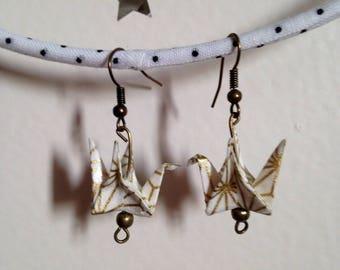 Ivory origami geometric gold earrings.
