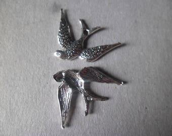 x 5 charmes hanger vogel slikken zilver 24 x 17 mm