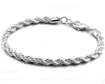 x 1 twisted snake silver plated 925 chain bracelet / 20 cm