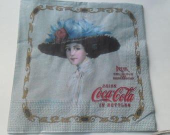 1 napkin vintage drink coca-cola at bottom bluish 33 x 33 cm