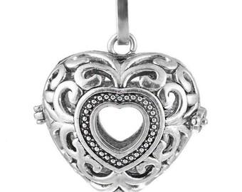 x 1 pendentif cage de Bali Bola Mexicain coeur creux pour bille d'Harmonie Bébé argent vieilli 4 x 3,2 cm(3)