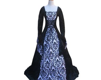 Victorian Gothic Renaissance Fair Dark Queen Dress Colonial Princess Game of Thrones Enchantress Gown Steampunk Halloween Costume Ball Gown